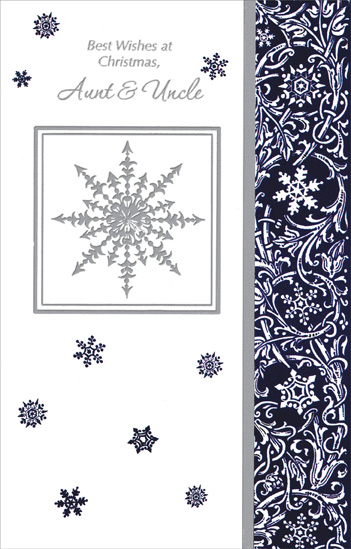 Silver Snowflakes & Vines: Aunt & Uncle (1 card/1 envelope) Christmas Card - FRONT: Best Wishes at Christmas, Aunt & Uncle  INSIDE: There's so much that's precious at this time of year� �the spirit of giving, laughter and cheer The closeness of family and time shared with friends Hoping your holiday joy never ends!