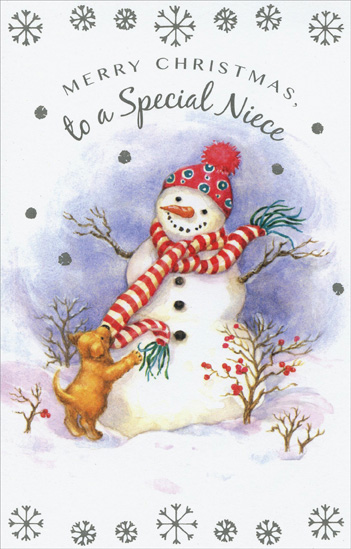 Merry Christmas Niece.Snowman Puppy Niece Christmas Card By Freedom Greetings