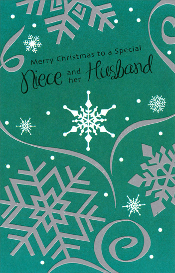 Silver Snowflakes on Green: Niece (1 card/1 envelope) Christmas Card - FRONT: Merry Christmas to a Special Niece and her Husband  INSIDE: Wishing two wonderful people a one-of-a-kind Christmas!