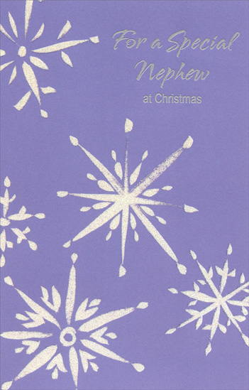 Sliver Snowflakes on Purple: Nephew (1 card/1 envelope) Christmas Card - FRONT: For a Special Nephew at Christmas  INSIDE: There's something about you that sets you apart� Perhaps it's your warm smile, your kind, loving heart� It's something that makes you fun to be near And so nice to remember when Christmas is here! Merry Christmas, Nephew
