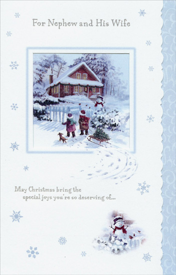 Children and Sled: Nephew (1 card/1 envelope) Christmas Card - FRONT: For Nephew and His Wife - May Christmas bring the special joys you're so deserving of�  INSIDE: �a season bright with happiness� �and a home that's warm with love. Have a Beautiful Holiday!