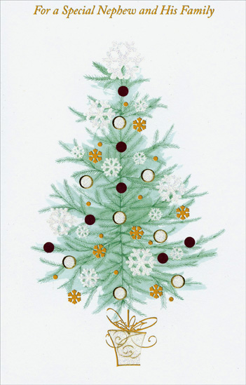 Gold & Glitter Tree: Nephew (1 card/1 envelope) Christmas Card - FRONT: For a Special Nephew and His Family  INSIDE: You're such a special nephew and your family is so dear, You're thought about with extra love when Christmas time is here. Merry Christmas to All!