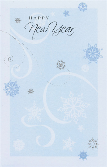 swirls snowflakes new years card by freedom greetings