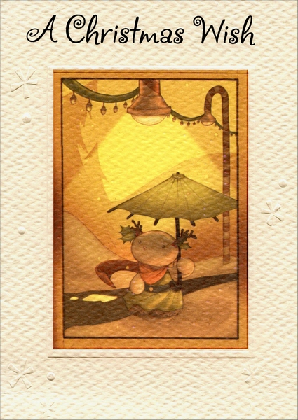 Umbrella Under Lights (1 card/1 envelope) Christmas Card - FRONT: A Christmas Wish  INSIDE: May the Magic of Christmas sweeten your days and brighten your nights.