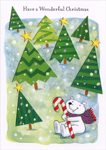 Bear with Candy Cane (1 card/1 envelope) Christmas Card - FRONT: Have a Wonderful Christmas  INSIDE: Lots of fun and happiness is being wished for you, to hope that every dream you have at Christmas will come true! Merry Christmas!