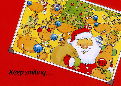 Keep Smiling (1 card/1 envelope) Christmas Card - FRONT: Keep Smiling�  INSIDE: �Christmas is always super fun! Merry Christmas