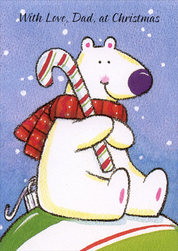 Bear with Candy Cane: Father Christmas Card by Freedom Greetings