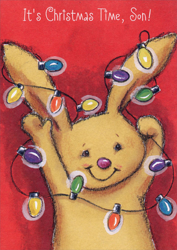 Bunny with Lights: Son (1 card/1 envelope) Christmas Card - FRONT: It's Christmas Time, Son!  INSIDE: What makes Christmas happy and a whole lot of fun? Why sharing all its good times with a very special son! That's YOU! Merry Christmas!