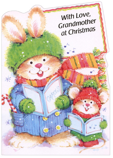 Carolling Rabbits: Grandmother (1 card/1 envelope) Christmas Card - FRONT: With Love, Grandmother at Christmas  INSIDE: You have a Christmas kind of smile, a Christmas kind of way… When you're around, you make every day seem like Christmas Day! Merry Christmas