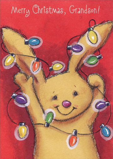 Bunny with Lights: Grandson (1 card/1 envelope) - Christmas Card - FRONT: Merry Christmas, Grandson!  INSIDE: Hope Christmas brings you all the things you really like the best! Have Lots of Fun!
