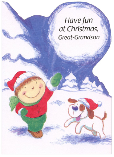 Boy and Dog: Great-Grandson (1 card/1 envelope) - Christmas Card - FRONT: Have fun at Christmas, Great-Grandson  INSIDE: At Christmas, you help everyone to have fun� That's what makes you such a special Great-Grandson! Merry Christmas!