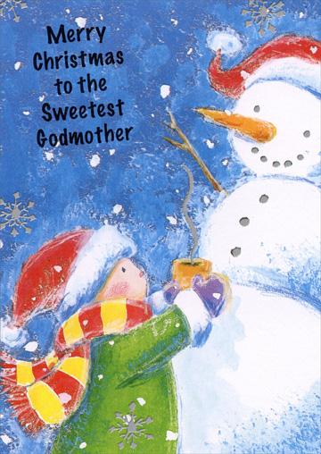 Hot Cocoa Snowmen Godmother (1 card/1 envelope) Christmas Card - FRONT: Merry Christmas to the Sweetest Godmother  INSIDE: A Godmother like you is sweet, not only at Christmastime, but each day all year through! Merry Christmas!