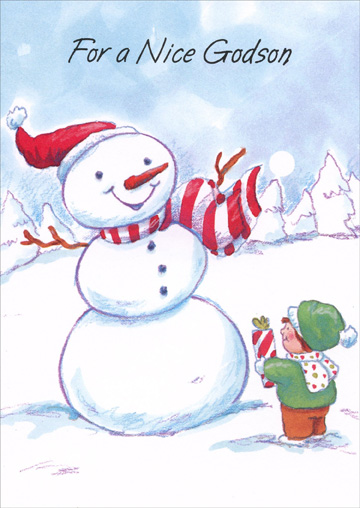 Snowman & Boy: Godson (1 card/1 envelope) - Christmas Card - FRONT: For a Nice Godson  INSIDE: This snowman heard how nice you are And so he's come your way To wish the best godson by far A happy Christmas Day! Merry Christmas with Love XOXOXOXO