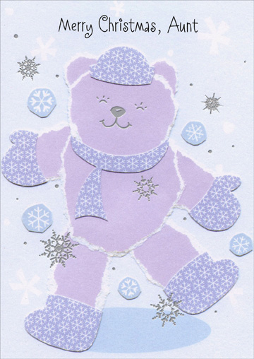 Bear with Snowflake Patterns: Aunt (1 card/1 envelope) - Christmas Card - FRONT: Merry Christmas, Aunt  INSIDE: Christmas seems just made for you Because you're so nice all year through! Love and Hugs at Christmas, Aunt