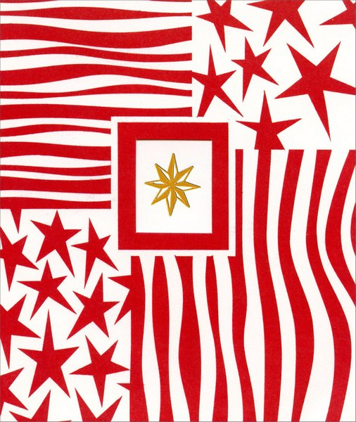 Gold Star with Stars & Stripes (1 card/1 envelope) Christmas Card  INSIDE: May the Christmas star guide your way through this joyous season.