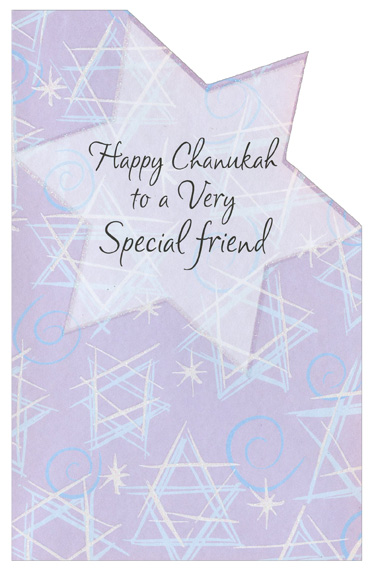 Die Cut Stars with Glitter: Friend (1 card/1 envelope) Freedom Greetings Hannukah Card - FRONT: Happy Chanukah to a Very Special friend  INSIDE: There's a special light between us and at Chanukah, it's brighter. Wishing you happiness, my special friend. You make the whole year brighter!  Happy Chanukah