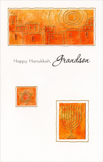 Gold Foil Menorah in Die Cut Window: Grandson (1 card/1 envelope) Freedom Greetings Hannukah Card - FRONT: Happy Hanukkah, Grandson  INSIDE: Hanukkah's a time to share with friends and family. There are menorahs in the windows, and the streets are full of light. It's a joyous celebration on each and every night!