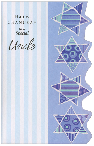 Four Stars with Die Cut Edge: Uncle (1 card/1 envelope) Freedom Greetings Hannukah Card - FRONT: Happy Chanukah to a Special Uncle  INSIDE: When I see a stack of latkes and kids spinning dreidels, too, I know it's time for Chanukah and I always think of you.  Happy Chanukah, Uncle, with Love
