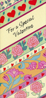 Rows of Hearts & Flowers (1 card/1 envelope) - Valentine's Day Card - FRONT: For a Special Valentine  INSIDE: When a heart's as warm as yours, Valentine's Day never really ends. Happy Valentine's Day