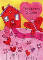 Butterflies in Front of House (1 card/1 envelope) Freedom Greetings Juvenile Valentine's Day Card