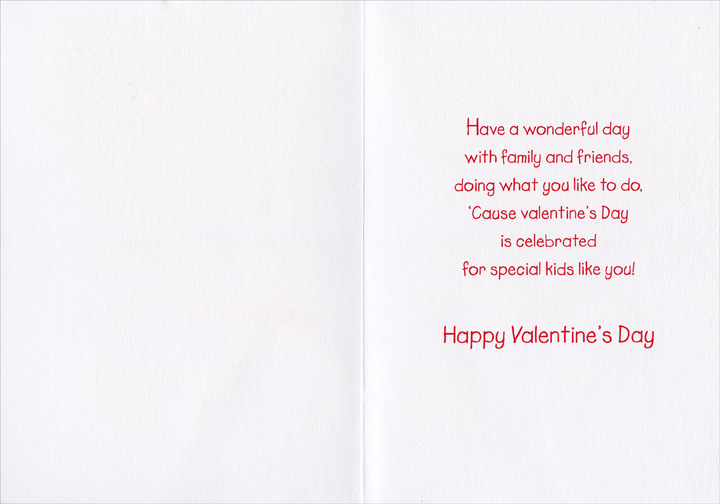 Playing Kittens (1 card/1 envelope) Freedom Greetings Juvenile Valentine's Day Card - FRONT: Valentine Fun for Someone Special  INSIDE: Have a wonderful day with family and friends, doing what you like to do, 'Cause Valentine's Day is celebrated for special kids like you! Happy Valentine's Day