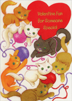Playing Kittens (1 card/1 envelope) Freedom Greetings Juvenile Valentine's Day Card