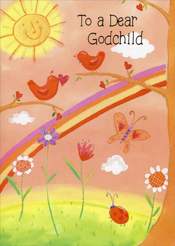 Birds, Butterfly & Ladybug: Godchild (1 card/1 envelope) Freedom Greetings Valentine's Day Card - FRONT: To a Dear Godchild  INSIDE: A godchild like you is like sunshine and song� 'Cause you brighten and lighten the days all year long! Happy Valentine's Day!