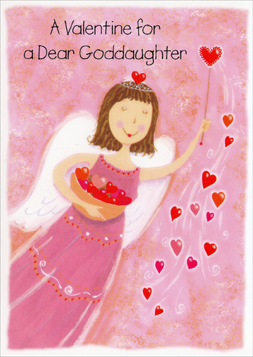 Angel with Hearts: Goddaughter (1 card/1 envelope) Freedom Greetings Valentine's Day Card - FRONT: A Valentine for a Dear Goddaughter  INSIDE: You've always been a special girl, as dear as you can be, Who brings a lot of love and joy to friends and family -- That's why this wish is filled with love for you especially. Happy Valentine's Day with Good Times Always