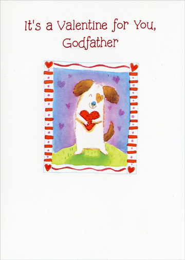 Dog Hugging Heart: Godfather (1 card/1 envelope) Freedom Greetings Valentine's Day Card - FRONT: It's a Valentine for You, Godfather  INSIDE: When you see this Valentine, sure hope that you will guess Who loves you lots and wishes you good times and happiness! Have a Nice Valentine's Day!