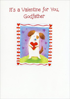 Dog Hugging Heart: Godfather (1 card/1 envelope) - Valentine's Day Card