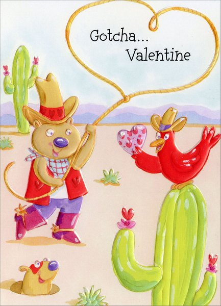 Cowboy Bear, Bird & Gopher (1 card/1 envelope) Freedom Greetings Juvenile Valentine's Day Card - FRONT: Gotcha… Valentine  INSIDE: Who could forget someone as special as you - a champion sweetheart, a fun buckaroo! Happy Valentine's Day