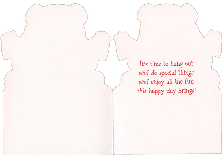 Baby Bear with Heart String (1 card/1 envelope) Freedom Greetings Juvenile Valentine's Day Card - FRONT: Happy Valentine's Day  INSIDE: It's time to hang out and do special things and enjoy all the fun this happy day brings!