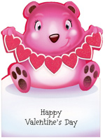 Baby Bear with Heart String (1 card/1 envelope) Freedom Greetings Juvenile Valentine's Day Card