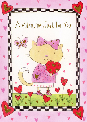 Cat With Hair Bow Holding Heart (1 card/1 envelope) Freedom Greetings Juvenile Valentine's Day Card - FRONT: A Valentine Just For You  INSIDE: Fun and fabulous, awesome and sweet - There's no doubt about it - knowing you is a treat! Happy Valentine's Day