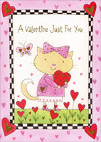 Cat With Hair Bow Holding Heart (1 card/1 envelope) - Valentine's Day Card