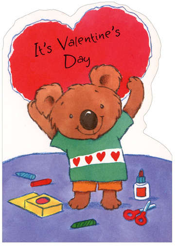 Crafty Koala Holding Heart (1 card/1 envelope) - Valentine's Day Card - FRONT: It's Valentine's Day  INSIDE: �And I just wanted to tell you how much I love you!