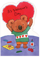 Crafty Koala Holding Heart (1 card/1 envelope) Freedom Greetings Juvenile Valentine's Day Card