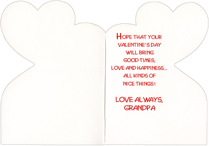 Sneaker with Award: Grandpa (1 card/1 envelope) - Valentine's Day Card - FRONT: On Valentine's Day, Grandpa  INSIDE: Hope that your Valentine's Day will bring good times, love and happiness� all kinds of nice things! Love always, Grandpa