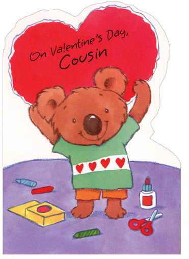 Crafty Koala Holding Heart: Cousin (1 card/1 envelope) Freedom Greetings Valentine's Day Card - FRONT: On Valentine's Day, Cousin  INSIDE: You deserve more than one wish so I'm sending two� One for being my cousin and one more for just being you! Happy Valentine's Day! Have Lots of Fun!