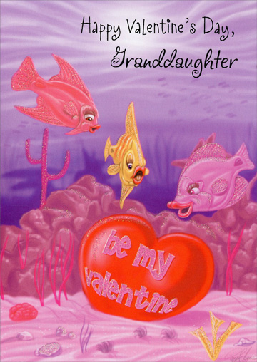 Fish Finds Valentine: Granddaughter (1 card/1 envelope) - Valentine's Day Card - FRONT: Happy Valentine's Day, Granddaughter  INSIDE: Of all the granddaughters in the sea, it really worked out perfectly that wonderful YOU turned out to be the sweet catch of the family!