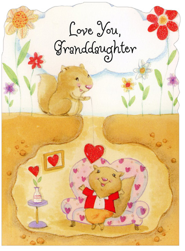 Squirrel Lowers Heart: Granddaughter (1 card/1 envelope) Freedom Greetings Valentine's Day Card - FRONT: Love You, Granddaughter  INSIDE: May you have a day of smiles and special fun times, too! 'Cause no one could be sweeter than adorable little you! Happy Valentine's Day