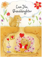 Squirrel Lowers Heart: Granddaughter (1 card/1 envelope) - Valentine's Day Card - FRONT: Love You, Granddaughter  INSIDE: May you have a day of smiles and special fun times, too! 'Cause no one could be sweeter than adorable little you! Happy Valentine's Day