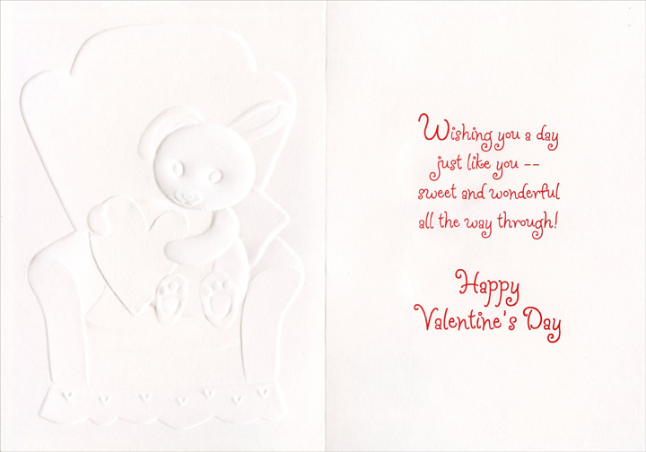 Bunny on Chair: Granddaughter (1 card/1 envelope) Freedom Greetings Valentine's Day Card - FRONT: Love You, Granddaughter  INSIDE: Wishing you a day just like you -- sweet and wonderful all the way through! Happy Valentine's Day