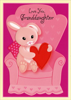 Bunny on Chair: Granddaughter (1 card/1 envelope) - Valentine's Day Card - FRONT: Love You, Granddaughter  INSIDE: Wishing you a day just like you -- sweet and wonderful all the way through! Happy Valentine's Day