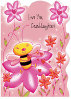 Bee Sits on Flower: Granddaughter (1 card/1 envelope) - Valentine's Day Card - FRONT: Love You, Granddaughter!  INSIDE: Inside the Valentine garden lives a darling little bee who scatters love to everyone while smiling cheerfully. She's really quite a lot like you -- as sweet as sweet can be! Happy Valentine's Day