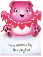 Baby Bear with Heart String: Granddaughter (1 card/1 envelope) - Valentine's Day Card - FRONT: Happy Valentine's Day, Granddaughter  INSIDE: Connected by love that's what we are And you're the sweetest Granddaughter in the world by far! Love you Sweetie!
