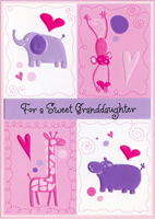 Elephant, Monkey, Giraffe & Hippo: Granddaughter (1 card/1 envelope) - Valentine's Day Card - FRONT: For a Sweet Granddaughter  INSIDE: Here's a special Valentine just for wonderful you, And it comes to say how loved you are all the whole year through! Happy Valentine's Day