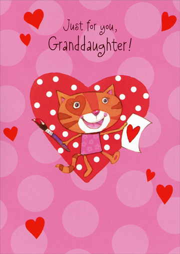 Cat Paints Valentine: Granddaughter (1 card/1 envelope) - Valentine's Day Card - FRONT: Just for you, Granddaughter!  INSIDE: You're so lovely - so sweet, and fun, and smart. More pretty than a picture, you're the perfect work of art! Happy Valentine's Day!
