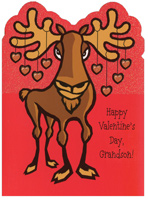 Moose Die Cut: Grandson (1 card/1 envelope) - Valentine's Day Card