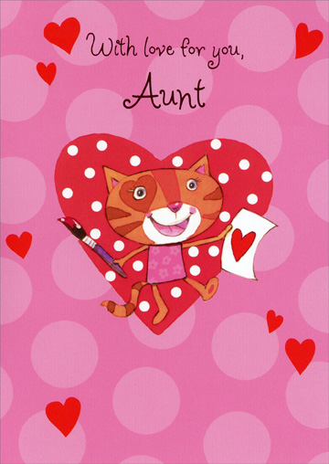 Cat Paints Valentine: Aunt (1 card/1 envelope) Freedom Greetings Valentine's Day Card - FRONT: With love for you, Aunt  INSIDE: This happy kitty's here today to send my hugs and love your way. You make me smile so easily because you're the best Aunt to me. Happy Valentine's Day!